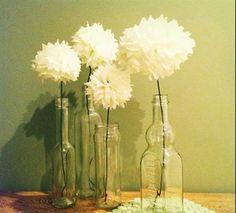Decoracao com flores de papel de seda