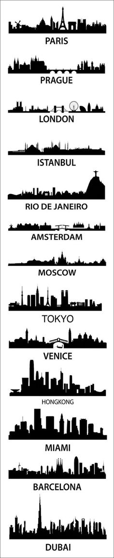 Cool city silhouettes the photo and would LOVE to see a few, but not all places do I think I would Travel to.wish I had the freedom for all, but the top three would be PLENTY for my LIFETIME! Oh The Places You'll Go, Places To Travel, Travel Stuff, Travel Destinations, Dubai, Thinking Day, Stencils, Stencil Diy, Silhouettes