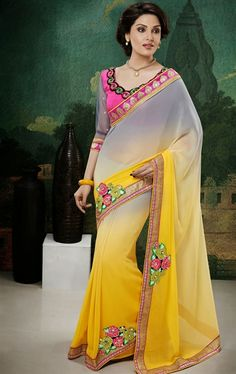 Marvelous Gray and Yellow Color Faux Georgette  Saree