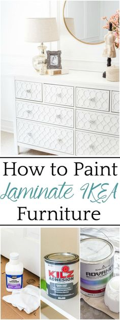 The Trick to Paint Laminate IKEA Furniture - Bless'er House A 3 step tutorial for painting laminate IKEA furniture to prevent peeling and scuffs and to make your painted finish last for a custom look. #furnitureredo #IKEAhack