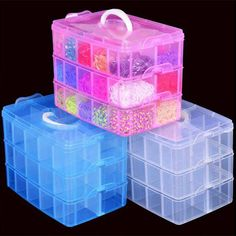 New Clear Plastic Jewelry Bead Storage Box Container Organizer Case Craft Tool #Unbranded