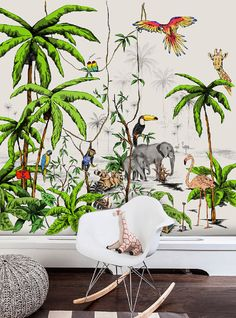 WALLPAPER JUNGLE color ☆ Material: Vinyl with paper backing ☆Weight: 300 grams ☆Texture: Matte light texture ☆ Specifications: Fire repellent Indoor Water resistent Made in the Netherlands ☆ What do you get: Please email us the exact size of your wall. We will design the wallpaper tot he exact size of your wall. You will receive your wallpaper after we have finished the design in approx. 2 weeks. ☆Delivery time: Please note that due to the custom design the delivery time fort his wallpa...