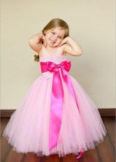 Baby Pink Off-Shoulder Tutu Birthday Dress for Girl