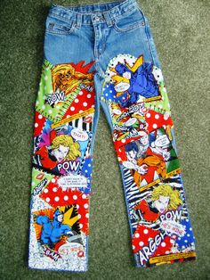 Superheroes patchwork jeans by 4getmeknot Wearable ⒶⓇⓉ