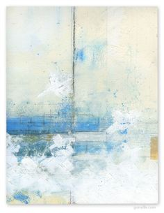 gonville:    mixed media on paper~i'm seeing a boat in fog