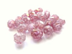 Rosy Pink Czech Firepolished Glass Beads with by TheDutchTulip (Craft Supplies & Tools, Jewelry & Beading Supplies, Beads, Round & Ball Beads, pastel, faceted, round, firepolished, Czech, large, pink, rose, stone, feminine, spotted, 6mm, mottled)
