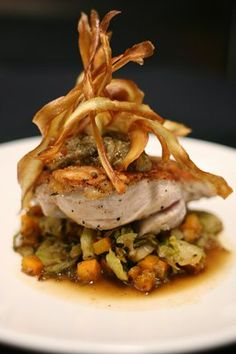 Photo of Nourish Grill - Mill Valley, CA, United States. Pan-seared airline chicken w/butternut squash & caramelized fire brussel sprouts w/eggplant-mint caviar & fried sweet potatoes Chicken Breast Recipes Dinners, Chicken Recipes, Diet Recipes, Cooking Recipes, Healthy Recipes, Lunch Recipes, Ground Turkey Enchiladas, Gourmet Chicken, Bistro Food