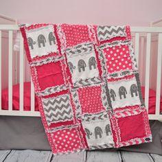 Elephant Crib Bedding - Hot Pink & Gray Elephant Nursery