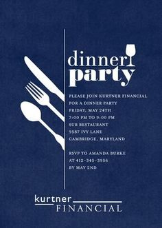 Darling Dinner Party - Corporate Event Invitations in Baltic or Dark Gray | Sarah Hawkins Designs