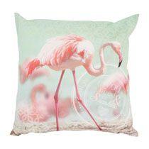 Kussen flamingo roze/groen 45x45 cm