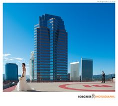 Wedding photo at the InterContinental Los Angeles helipad | Copyright © Rob Greer Photography, All Rights Reserved, http://www.robgreerweddings.com