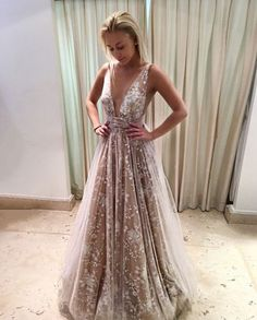 Sexy Deep V-Neck Long Champagne Lace Prom Dresses#promdresses#promgowns#eveningdresses#eveninggowns#champagnepromdresses#sexypromdresses#simplepromdresses#lacepromdresses