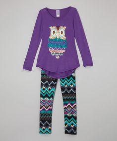 Love this Purple Owl Tunic & Tribal Leggings - Toddler & Girls by Maya Fashion on #zulily! #zulilyfinds