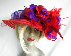 Society Lady Red PETITE Brim Hat w Jumbo Roses Hat / Headband Repin by Red Hat Ladies