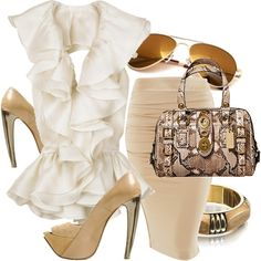 A fashion look from July 2008 featuring Jimmy Choo blouses, Coach handbags and ASOS bracelets. Browse and shop related looks. Classy Work Outfits, Pretty Outfits, Skirt Fashion, Fashion Shoes, Fashion Outfits, Fashion Me Now, Womens Fashion, Dress Down Day, Cool Style