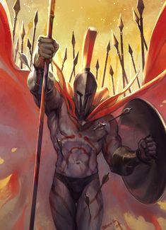 Fantasy Rpg, Medieval Fantasy, Pantheon League Of Legends, Character Concept, Character Design, Samurai, Spartan Warrior, Fate Servants, Fate Anime Series
