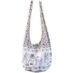 Sandy Beach Sling Bag Elephant White (£7.67) ❤ liked on Polyvore featuring bags, handbags, elephant print handbags, sling purse, handbag purse, man bag and white bag