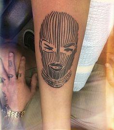Woman in balaclava tattoo Dope Tattoos, Dream Tattoos, Pretty Tattoos, Mini Tattoos, Leg Tattoos, Body Art Tattoos, Small Tattoos, Sleeve Tattoos, Creative Tattoos