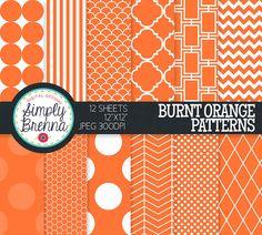 Burnt Orange Digital Paper Colorful Digital Paper by SimplyBrenna