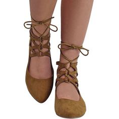 Tan Suede Lace-Up Style Closed Toe Ballet Flats