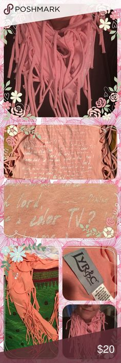 "Lyric infinity scarf with words of Janis Joplin . Infinity scarf with the words/ lyrics to the classic Janis Joplin song "" oh Lord Won't you buy me a Mercedes benz"" 100% cotton in a salmon pink with white lyrics. I took pics in artificial lighting and the pinky pink is natural outdoor lighting. Never worn. Retails at $50 Lyrics Accessories Scarves & Wraps"
