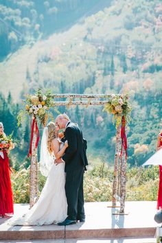 The wedding kiss! Looks amazing against this amazing mountain backdrop and rustic arch - at the Park City Mountain Resort. Park City Mountain, Mountain Resort, Wedding Kiss, Fall Wedding, Rustic Elegance, Real Weddings, Backdrops, Arch, September