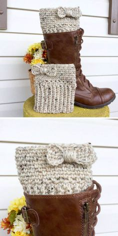 11 Stylish Boot Cuff Crochet Patterns to Add Some Feminine Flair to Your Winter Wardrobe! – Love Crochet 11 Stylish Boot Cuff Crochet Patterns to Add Some Feminine Flair to Your Winter Wardrobe! Guêtres Au Crochet, Crochet Boot Cuff Pattern, Mode Crochet, Crochet Bows, Crochet Motifs, Crochet Slippers, Crochet Clothes, Scarf Crochet, Crochet Boot Socks
