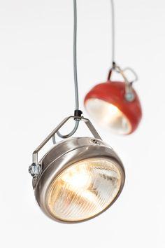 vintage headlight in red – hanging lamp – spotlight - industrial lighting Industrial Lighting, Modern Lighting, Conduit Lighting, Car Furniture, Ideas Hogar, Steampunk Lamp, Automotive Decor, Pendant Lamp, Floor Lamp