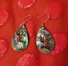 Earrings-Faux-Abalone-Shell-Dangle-Pierced-with-Dainty-Wire-Layer