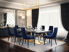 Luxury Dining Room Ideas for New Years Eve You Don't Want to Miss Luxury Dining Tables, Luxury Dining Room, Dining Table Design, Casual Dining Rooms, Elegant Dining Room, Luxury Homes Interior, Luxury Home Decor, Esstisch Design, Plafond Design