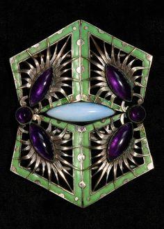 Piel Frères - An Art Nouveau silver plated metal, matte enamel, amethyst and opal belt buckle, Paris, circa 1900. 6.4 x 8.4 cm. Marked: Maker's mark PF. #PielFreres #ArtNouveau #buckle