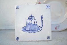 "Handmade stoneware tile ""cake"" by PortugueseSun on Etsy"