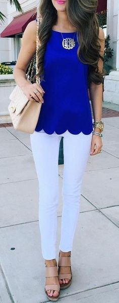 #summer #preppy #outfits | Cobalt Blue Scallop Top + White Jeans