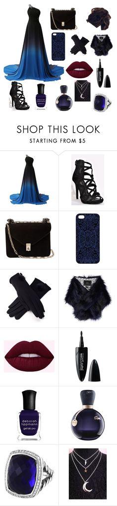 """Midnight"" by violet218 ❤ liked on Polyvore featuring Valentino, Samantha Warren London, RGLT Scarves, Unreal Fur, Maybelline, Deborah Lippmann, Lacoste and David Yurman"