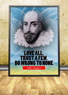 """William Shakespeare printable instant download poster - good for decorating any interior - either in your homes and offices or in your shops, cafes, bookstores, dorms, etc. By pahleeloola. Use the coupon code, """"PIN10"""" for 10% off on your entire purchase! Click to buy and print!"""