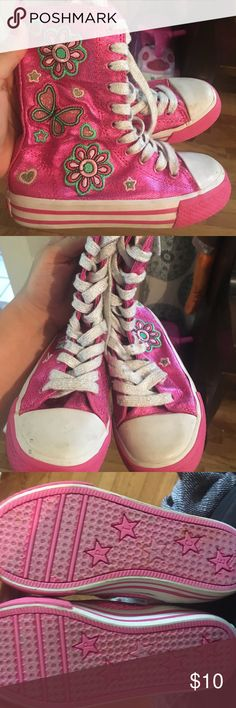 Little girl zip up shoes These are not converses, these are children's place! Super cute zip up sneakers, tall like a boot.  In great condition! Converse Shoes Sneakers