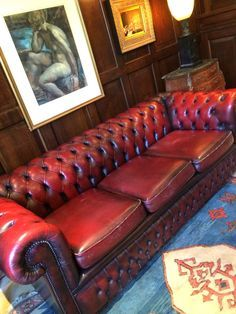 Stunning Antique Chesterfield Sofa Dark Red Three Seater, Shabby Chic,  Leather
