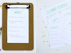 Free Printable Cleaning Schedule from Squirrelly Minds