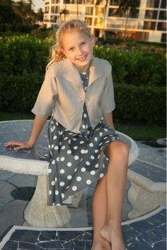 Ses Petites Mains Rose Dress in Charcoal Dots & Ella Jacket in Sandy Twill