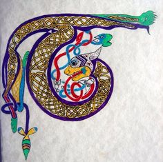 """My imitation of a letter T from the """"Tunc crucifixerunt"""" page in the Book of Kells. Speedball Acrylic and Parker Quink on parchment paper."""