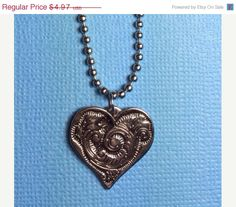 ON SALE Heart Silver 18 inch Necklace Adjustable by RoseyJohnny, $4.72