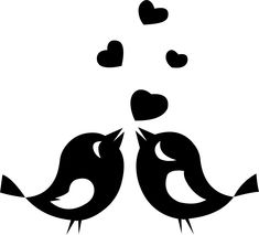 Love Birds Clipart Black And White 18802