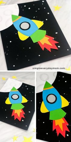 Simple & Fun Rocket Craft For Kids - Kindergarten Crafts & Activities - Make this easy DIY rocket paper craft made with construction paper or card stock. Construction Paper Art, Construction For Kids, Crafts For Kids To Make, Crafts For Teens, Projects For Kids, Kids Diy, Art Projects, Rocket Craft, Diy Rocket