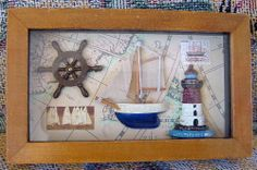 Wood Shadow Box Nautical Ships Helm Steering Wheel Light House Wooden