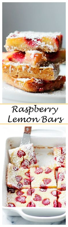 Raspberry Lemon Bars – Nutty cookie crust topped with a luscious lemon filling and studded with fresh sweet raspberries. These are just bursting with flavor and perfect texture!