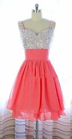 Pretty Watermelon Short Beadings Prom Dress