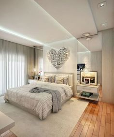 Top Useful Tips: Wooden False Ceiling Design false ceiling for hall living rooms.False Ceiling Luxury Home Theaters. Master Bedroom Plans, Master Bedroom Design, Living Room Bedroom, Modern Bedroom, Master Suite, Bedroom Decor, Bedroom Ideas, Bed Room, Contemporary Bedroom