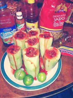 *Cucumber shots* Clamato juice Peanuts Tajin Chamoy Red Habanera sauce Lemon One word AMAZING! Mexican Snacks, Mexican Dishes, Mexican Food Recipes, Snack Recipes, Cooking Recipes, Healthy Recipes, Mexican Candy, Mexican Drinks, Mexican Desserts