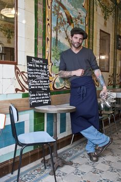 Vivant bar in Paris, France >> Apparently a very high end chef (Pierre Jancou, shown here) owns this bar and you can sample his high end food in a more casual and budget friendly way. This sounds fun and I have to say I really wouldn't mind having a meal with this guy. What a cutie!
