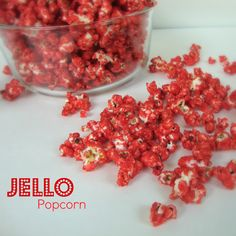 Jello Candied Popcorn ~ the color and flavor possibilities are endless! Ingredients: Popcorn Butter, Sugar, Light Corn Syrup and Jello of your choice Jello Popcorn, Best Popcorn, Candy Popcorn, Flavored Popcorn, Popcorn Recipes, Snack Recipes, Cooking Recipes, Butter Popcorn, Popcorn Bar